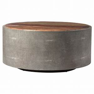 dieter rustic modern grey faux shagreen wood round coffee With round grey wood coffee table