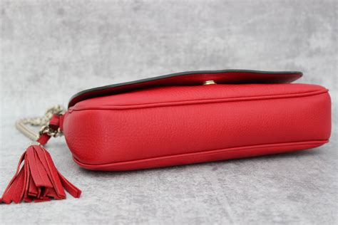 gucci red soho leather chain shoulder bag  jills