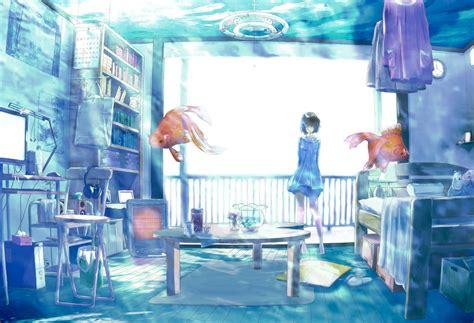 Anime Water Wallpaper - anime room water fish original characters hd