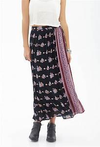 Forever 21 Floral Wrap-Front Maxi Skirt in Black (Black ...