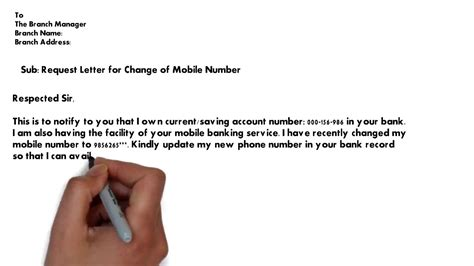 federal bank mobile number change request letter change