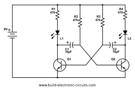 blinking led circuit  schematics  explanation