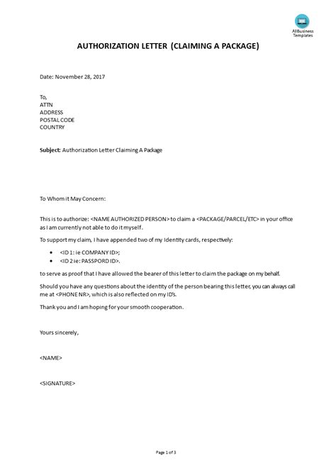 authorization letter claiming  package templates