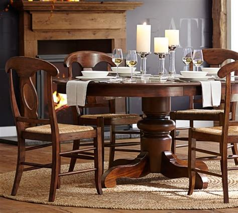 pottery barn tables tivoli extending pedestal dining table pottery barn