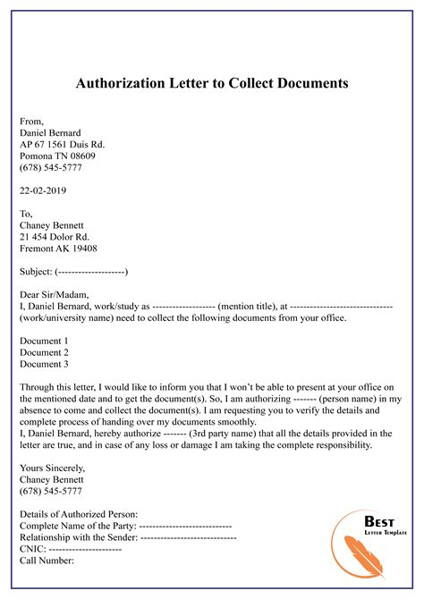 authorization letter  collect documents   letter