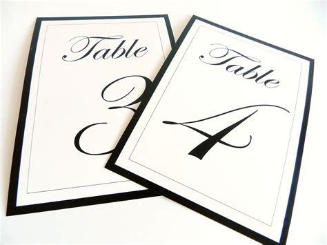 table numbers elegant black  white flat  tent