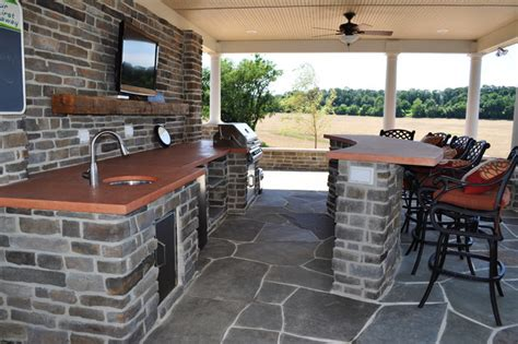 interior of pool house with outdoor kitchen traditional
