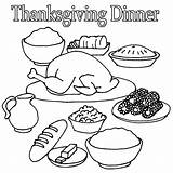 Thanksgiving Coloring Dinner Pages Turkey Table sketch template