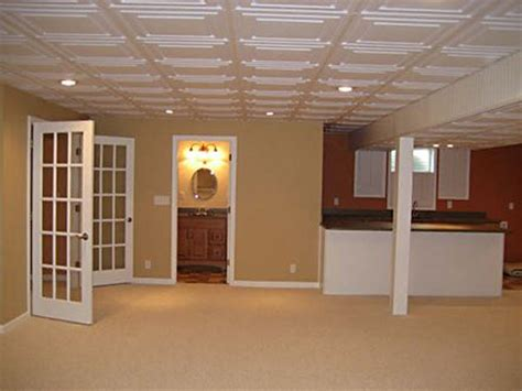 Fresh Finished Basement with Drop Ceiling