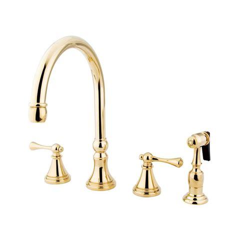 brass faucet kitchen shop elements of design polished brass 2 handle high arc