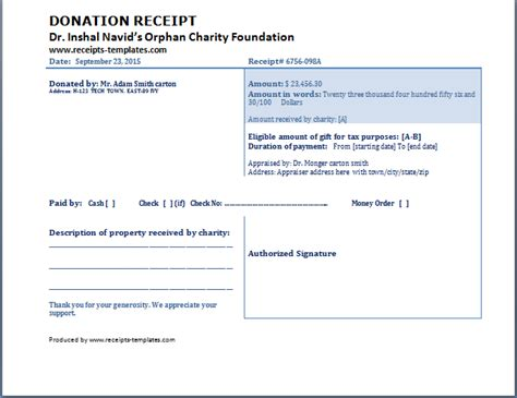 Donation Receipt Template Charitable Donation Receipt Template Free Aashe