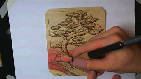 wood burning  bonsai tree design youtube