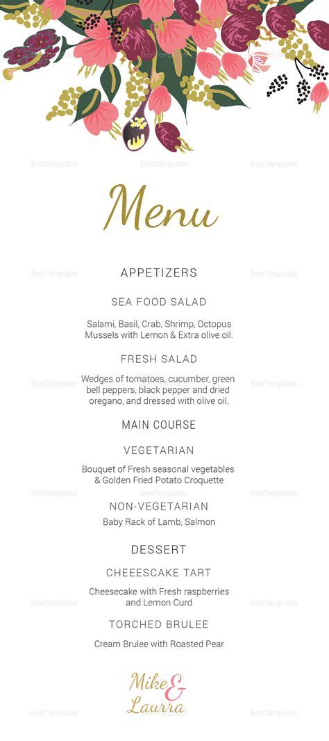 burgundy floral wedding menu card design templates  word