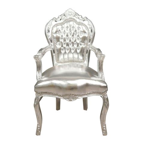 chaise fauteuil avec accoudoir baroque armchair silver chairs and ls