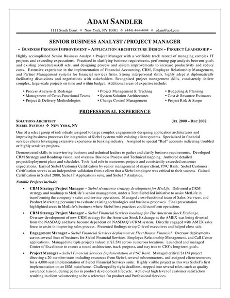 Business Analyst Resume Objectives by Business Analyst Resume Sle Career Diy