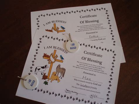 certificate  blessing  blessing   animals