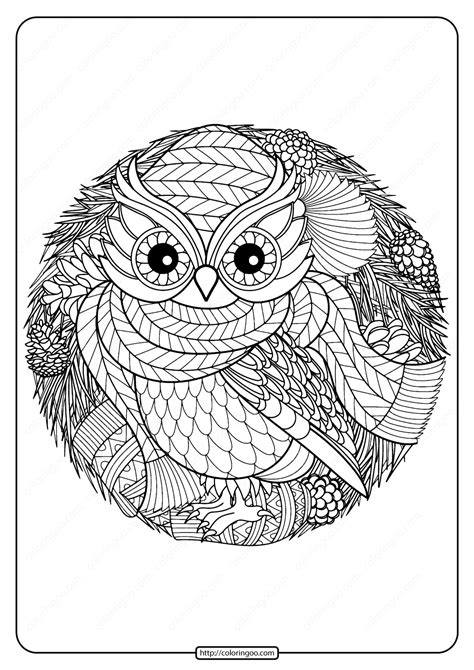 printable winter owl  coloring page