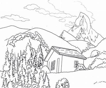 Landscape Drawing Illustration Line Outline Simple Drawings
