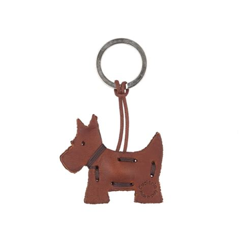 leather key holder brown scottie keyring p321