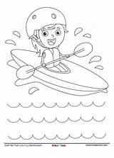 Coloring Kayaking Kidzezone Kid sketch template