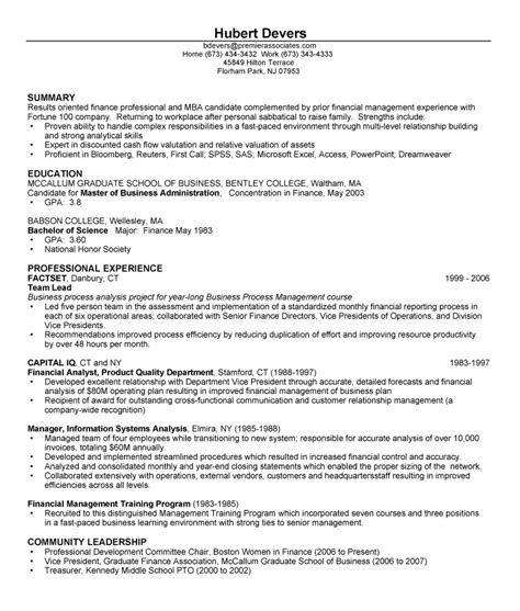 resume exles for experienced professionals cover