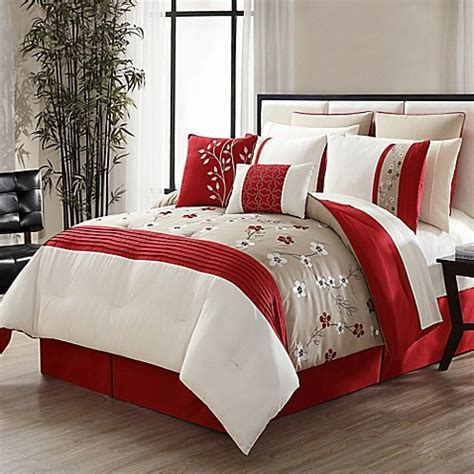 Nora 12 Piece Comforter Set in Red/Taupe   Bed Bath & Beyond