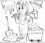 Miner Clipart Cave Coloring Pages Mining Outlined Illustration Happy Vector Royalty Visekart Print Printable Background 2021 Without Getcolorings sketch template
