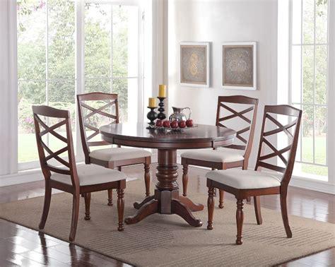 round wood dining room table eden 5pc round pedestal cherry finish wood kitchen dining