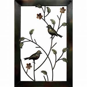 Metal bird framed art wall decor