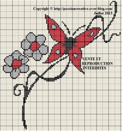la cuisine d au pays des merveilles grille gratuite point de croix papillon et fleurs rouges