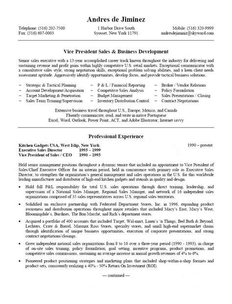 Vp Sales Operations Resume by Vp Sales Business Development Resume