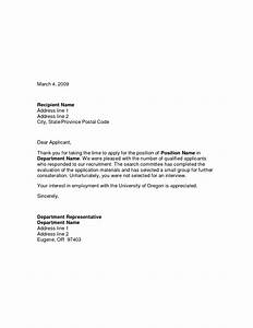 Best Photos of Successful Candidate Letter  Job Candidate Rejection Letter Sample, Unsuccessful