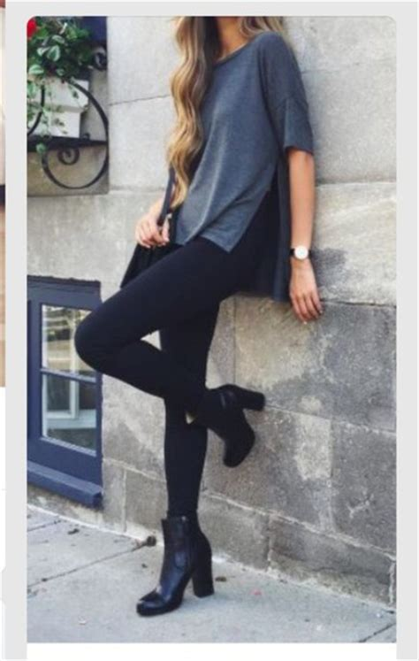 Shoes t-shirt black heels leggings outfit outfit idea tumblr cute style - Wheretoget