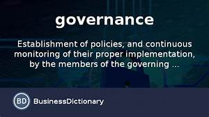 What is governance? definition and meaning ...