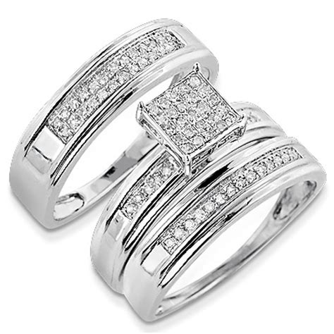 discount engagement rings silver diamond trio ring set ct