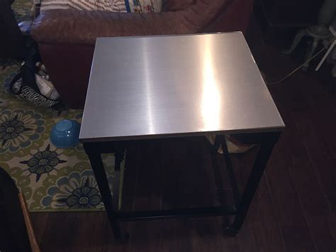 Hometalk   Stainless Steel Contact Paper Table Top Makeover