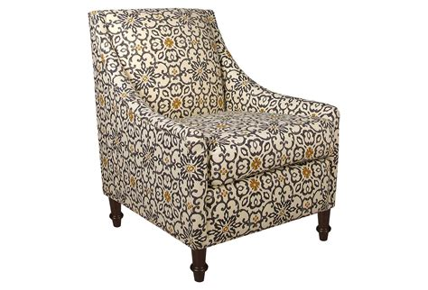 accent chair gray yellow floral from one
