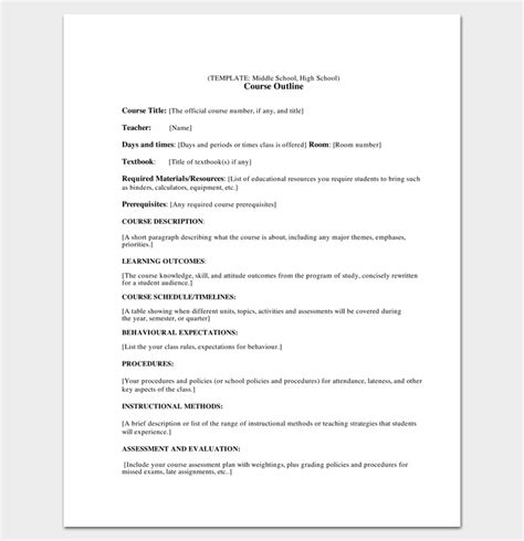 course outline template course outline template 10 sles for word pdf format