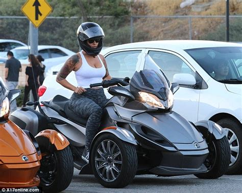 Amber Rose Rides Three Wheel Motorbike Studio City, Los