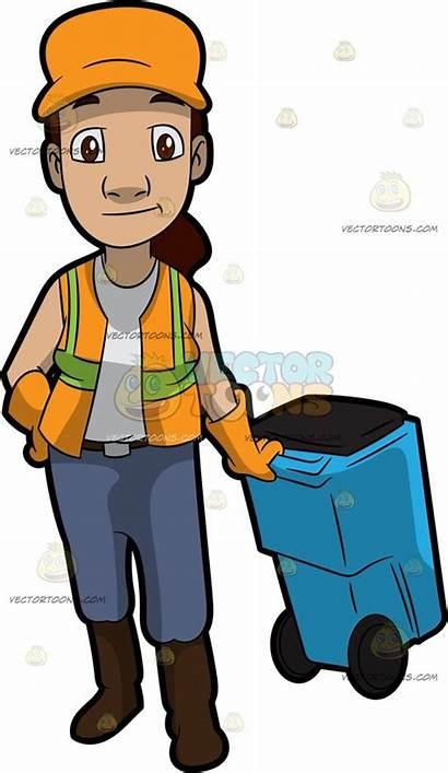 Garbage Clipart Sanitation Collector Worker Bin Female