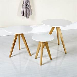 Scandinavian retro style white nesting tables abreo home for White nesting coffee table