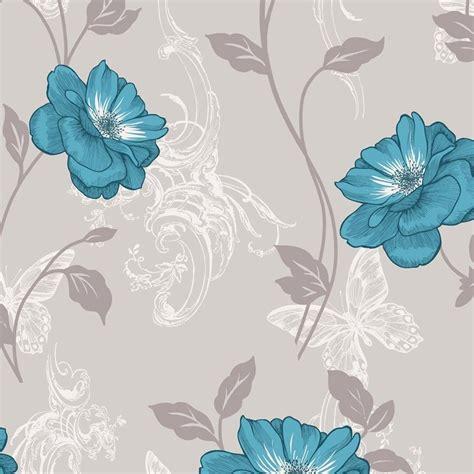 crown millie floral wallpaper teal  wallpaper