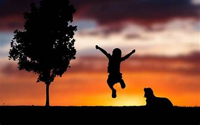 Silhouette Happy 4k Sunset Child Wallpapers