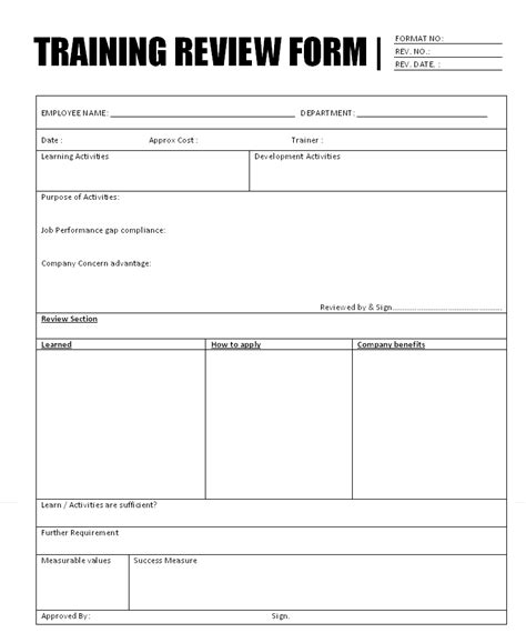 training review form format