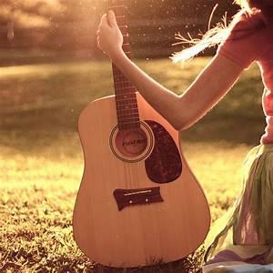 girl, grass, guitar, guittar, hand - image #204435 on ...