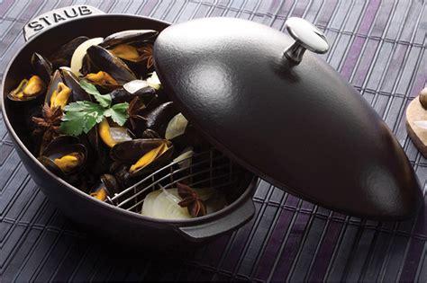 staub mussel pot staub matte black cast iron mussel pot