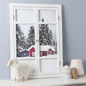 tableau fenetre en bois blanc chalet maisons du monde With tableau cuisine maison du monde
