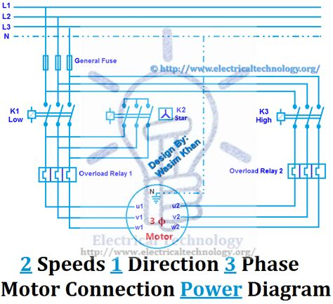 2 speeds 1 direction 3 phase motor power and diagrams electrical technology