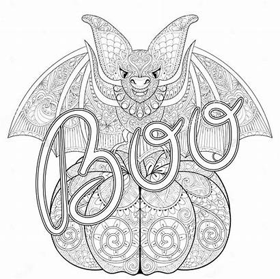 Halloween Zentangle Bat Coloring Adult Drawing Boo