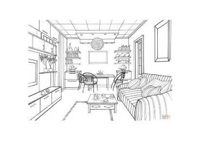 Coloring Living Pages Drawing Kitchen Interior Ball